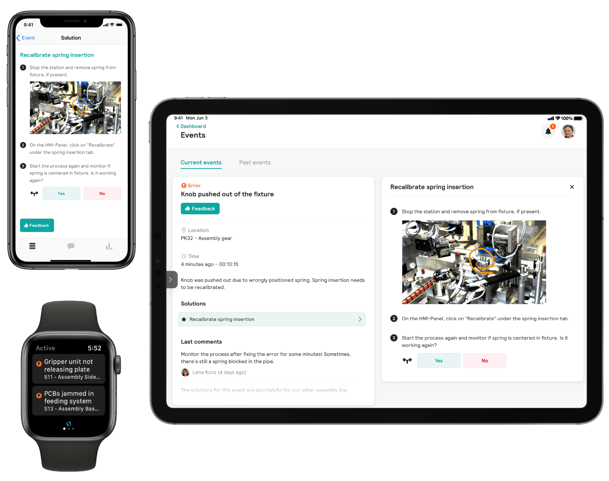 Ipad, Iphone and Smartwatch with Shannon application